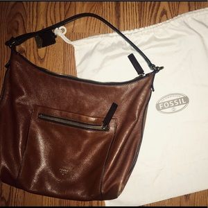 Fossil Vickery Leather Shoulder Bag Brown
